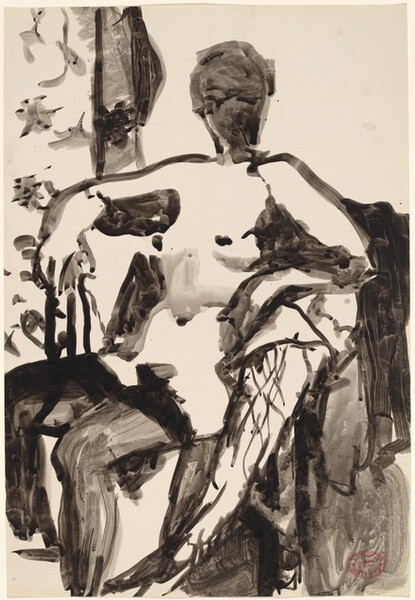 Untitled [seated nude woman in black stockings]