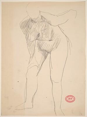 Untitled [female nude bending forward]