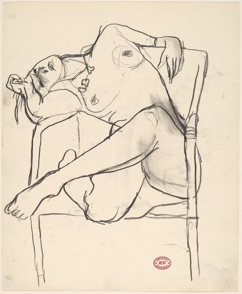 Untitled [seated female nude slouching over chair arm]