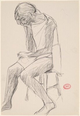 Untitled [woman seated on a stool resting her head on her hand]