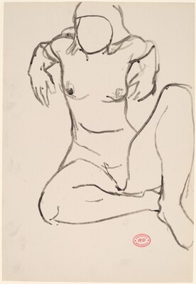 Untitled [seated female nude with her elbows raised behind her]
