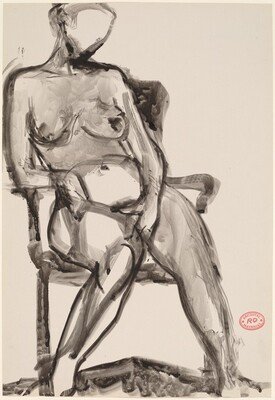 Untitled [seated nude leaning on armrest]