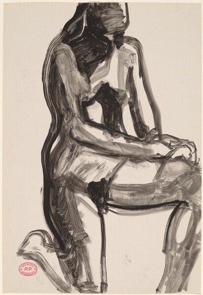 Untitled [female nude kneeling on one knee]