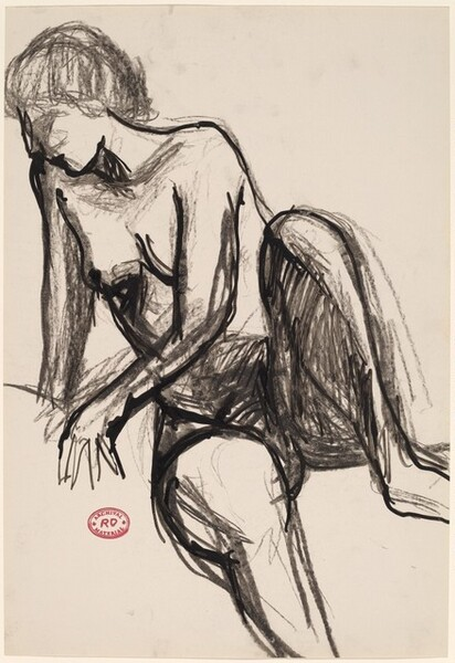 Untitled [seated female nude with short hair]