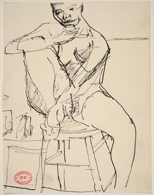 Untitled [nude woman seated on stool]