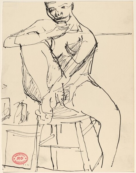 Untitled [nude woman seated on stool]