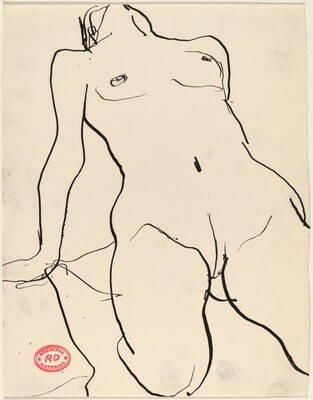 Untitled [kneeling female nude with head tossed back]