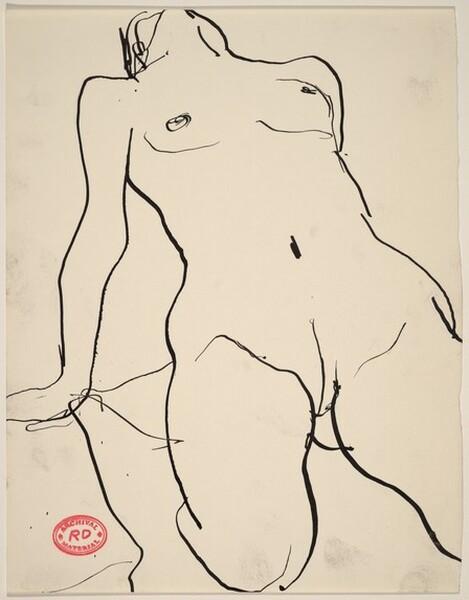 Untitled [kneeling female nude with head tossed back]