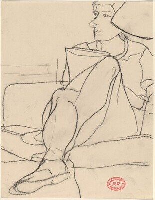 Untitled [woman seated on sofa with legs crossed]