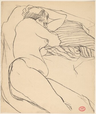 Untitled [reclining female nude with a striped pillow]