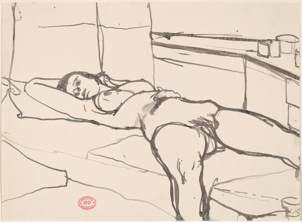 Untitled [female nude reclining in studio]
