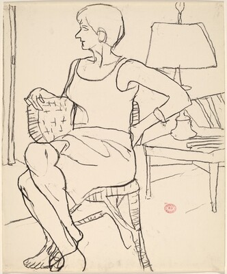 Untitled [seated woman with legs crossed]