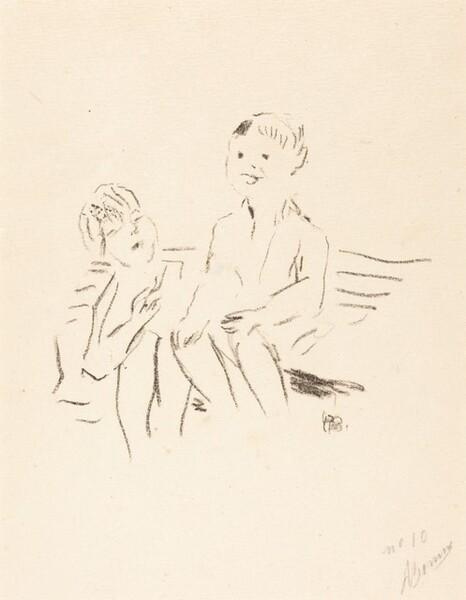 Deux enfants sur un banc