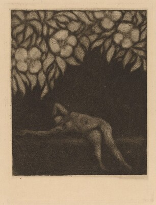 Nude Reclining beneath Flowers