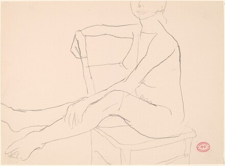 Untitled [seated female nude turned sideways in chair]