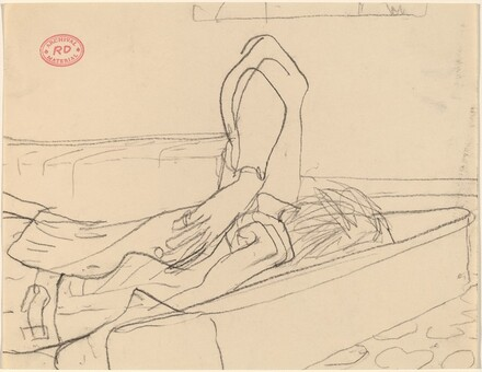 Untitled [figure lying down and raising elbow]