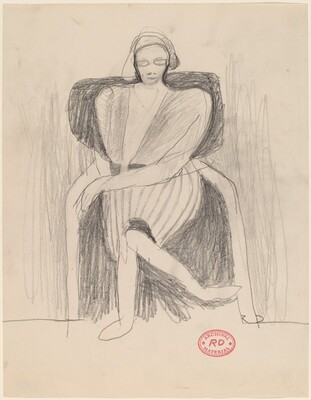 Untitled [stylized image of a seated woman]