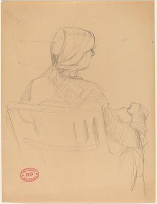Untitled [rear view of seated woman with her hair pulled back]