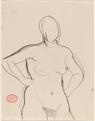 Untitled [nude standing with her arms akimbo]
