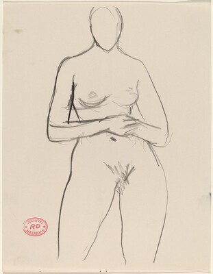 Untitled [front view of nude standing with hands on her belly]