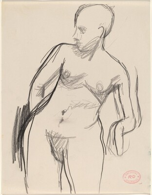 Untitled [standing female nude leaning on her left elbow]