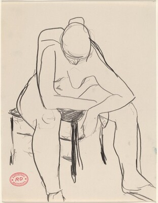 Untitled [seated female nude resting elbows on knees]