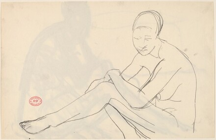 Untitled [nude seated with her left arm over her left leg] [recto]