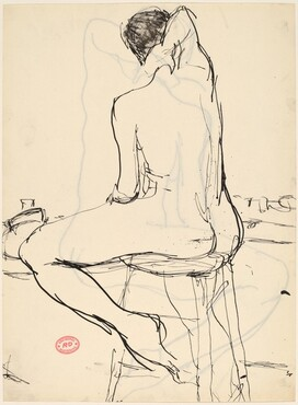 Untitled [nude seated on a stool with her right arm over her head] [recto]