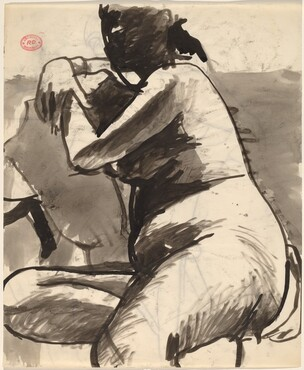 Untitled [seated female nude facing left] [recto]