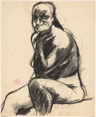 Untitled [seated nude resting her head on her left hand]