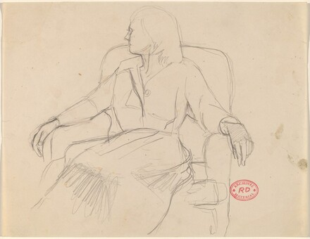 Untitled [woman seated in an armchair looking left]