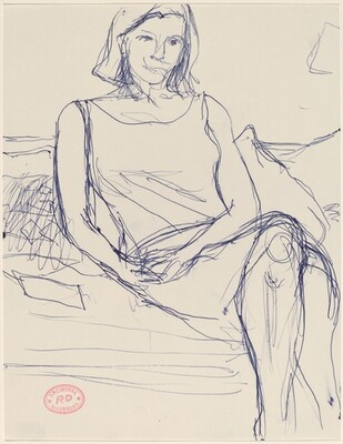 Untitled [woman in a sleeveless dress seated on sofa]
