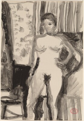 Untitled [interior with standing female nude]
