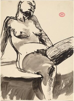 Untitled [female nude in stockings seated and leaning back]