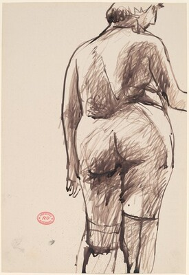 Untitled [back view of a female nude in stockings]