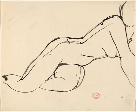 Untitled [nude resting on her side and lifting up on her right arm]