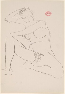 Untitled [nude seated and resting her right arm on a support]