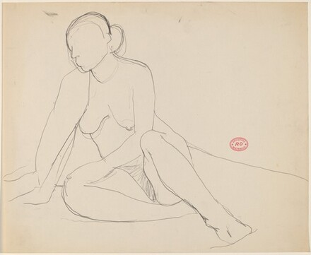 Untitled [seated nude leaning on her right arm]