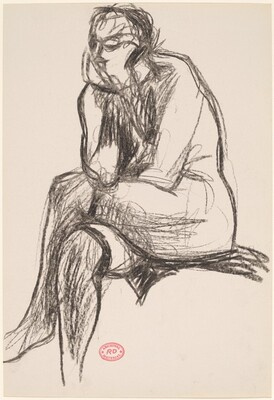 Untitled [seated nude crossing her legs and resting her chin on her right hand]
