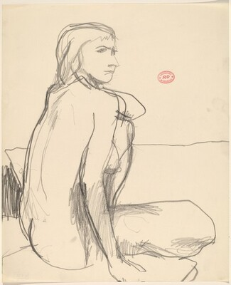 Untitled [female nude seated and looking right]