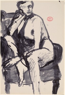 Untitled [seated nude turned and resting against the arm of her chair]