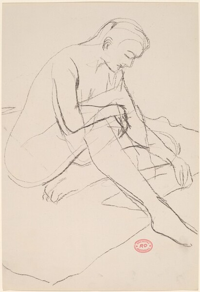 Untitled [female nude seated and looking down]