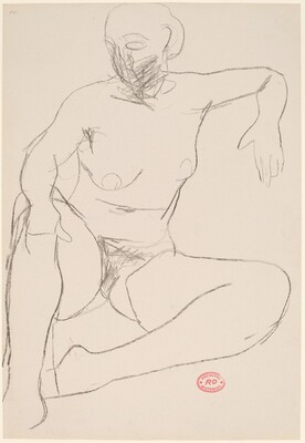 Untitled [seated nude leaning on her left arm]