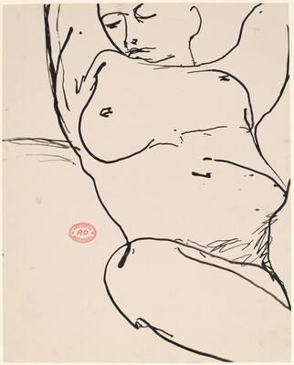 Untitled [head and torso view of a reclining nude raising her arms]