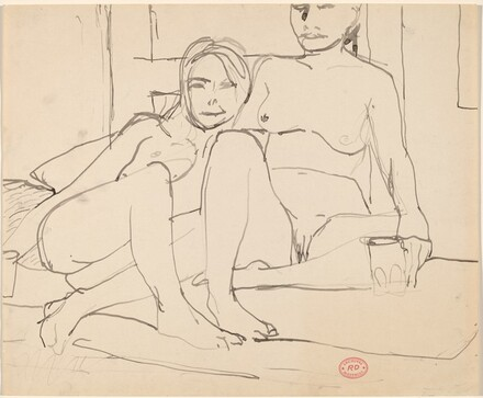 Untitled [two female nudes seated together]