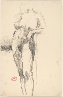 Untitled [standing female nude resting her arm on a support]