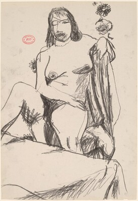 Untitled [seated female nude with arm over draped chair back]