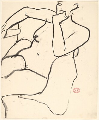 Untitled [seated female nude with left arm on chair back]