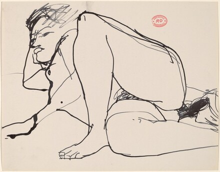 untitled [female nude lying on right side]