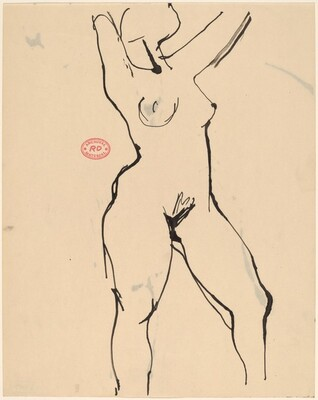 untitled [standing female nude with arms raised]